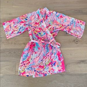 Lilly Pulitzer 100% silk robe size xs/s pink